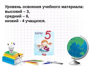 Уровень освоения учебного материала: высокий – 3,  средний – 6,  низкий