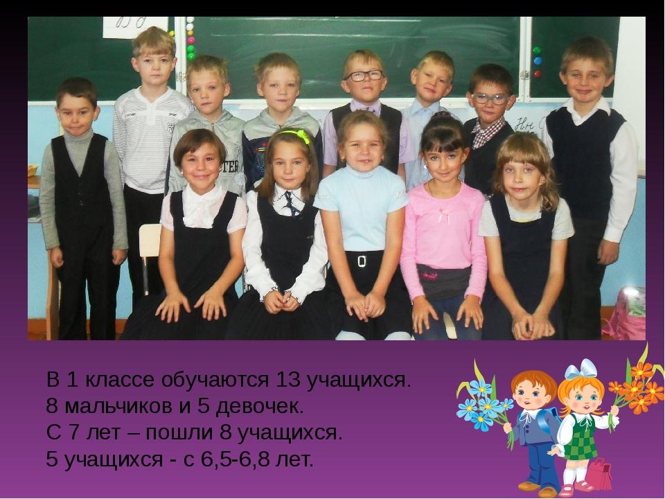 В 1 классе обучаются 13 учащихся. 8 мальчиков и 5 девочек. С 7 лет – пошли 8...