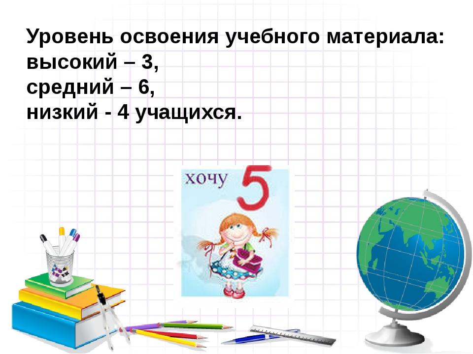 Уровень освоения учебного материала: высокий – 3,  средний – 6,  низкий...