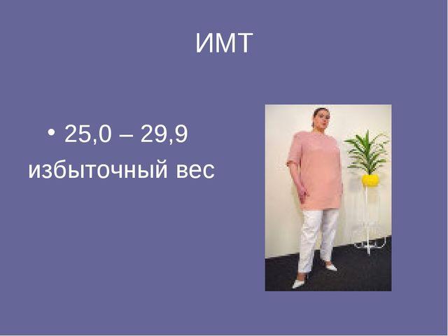 ИМТ 25,0 – 29,9 избыточный вес