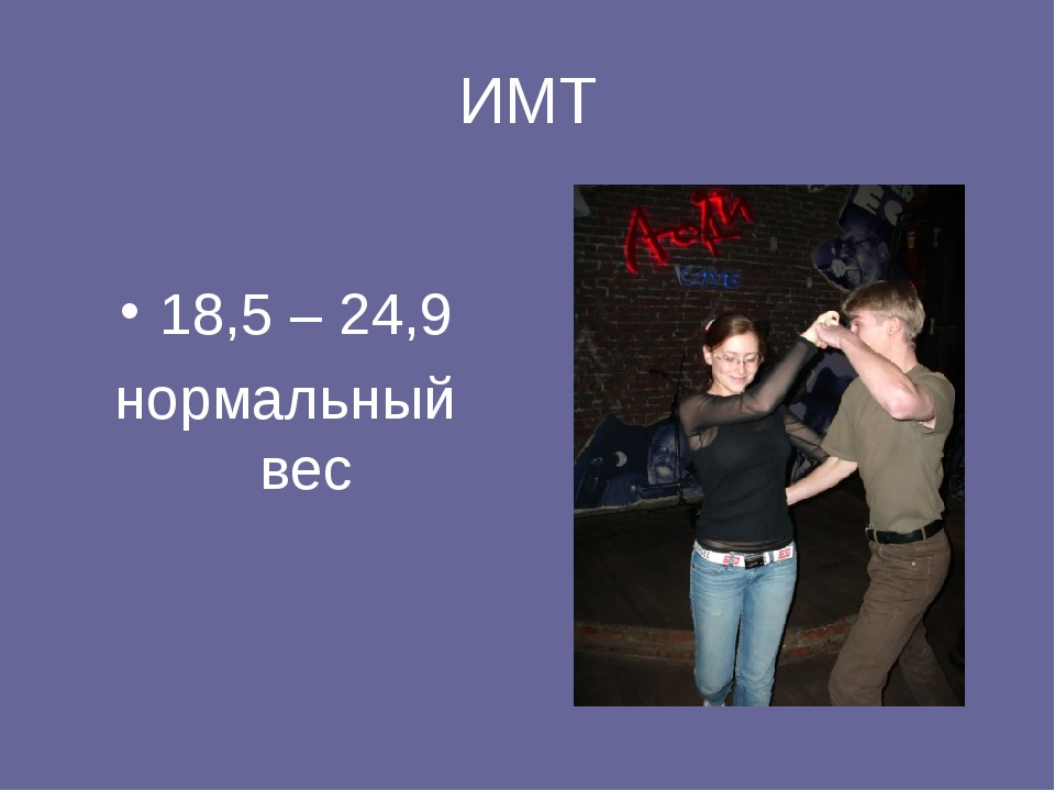 ИМТ 18,5 – 24,9 нормальный вес