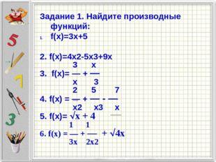 Задание 1. Найдите производные функций: f(x)=3x+5 2. f(x)=4x2-5x3+9x 3 x 3. f