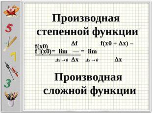 Производная степенной функции Производная сложной функции f f(x0 + x) – f(x