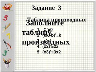 Заполните таблицу производных Задание 3 Таблица производных С'=0 (kx+b)'=k х