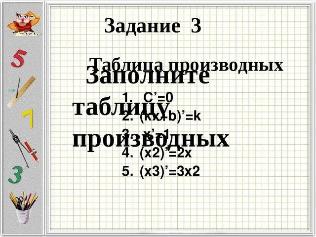 Заполните таблицу производных Задание 3 Таблица производных С'=0 (kx+b)'=k х...