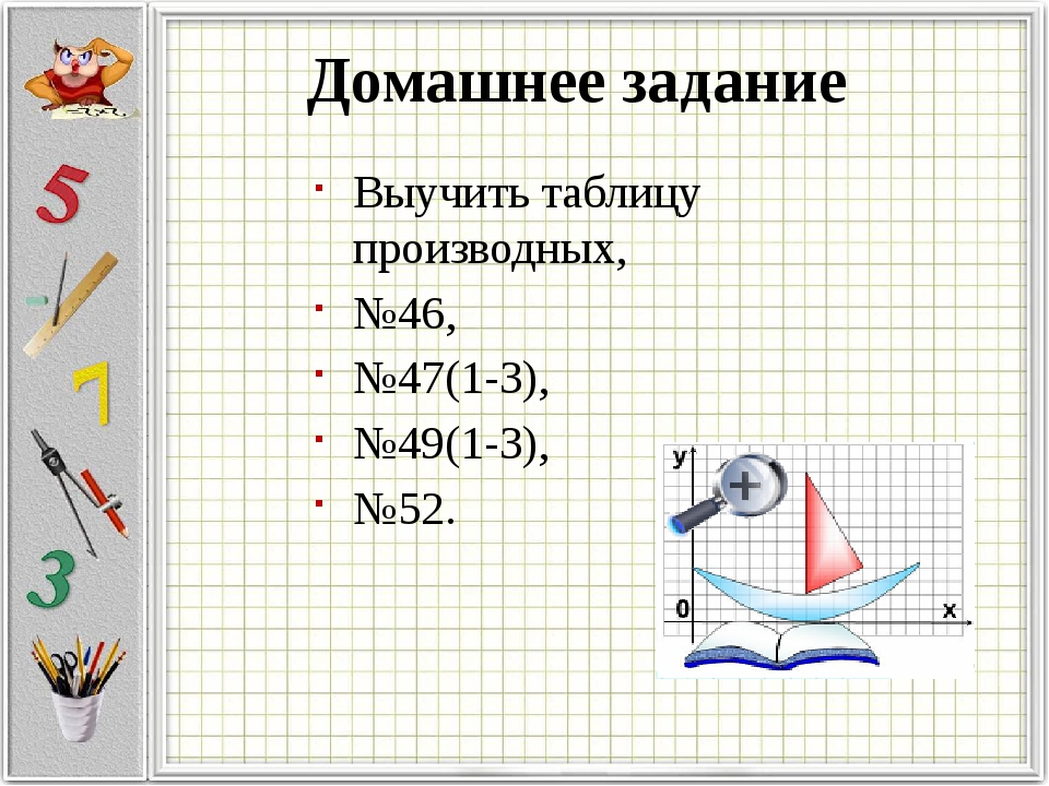 Выучить таблицу производных, №46, №47(1-3), №49(1-3), №52. Домашнее задание