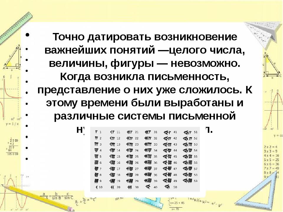 Точно датировать возникновение важнейших понятий —целого числа, величины, фиг...