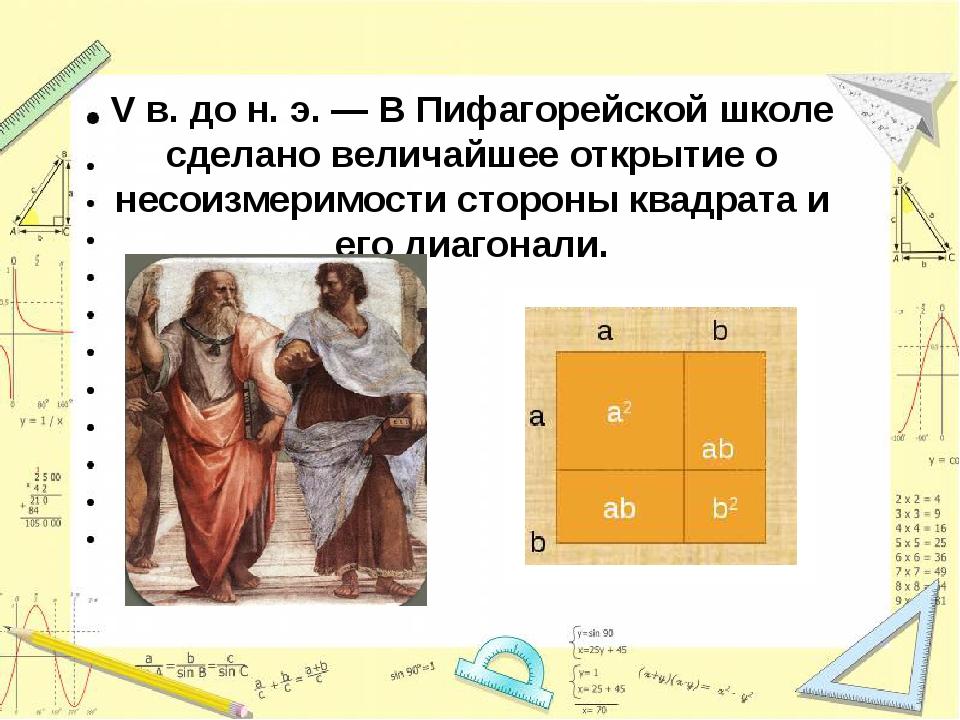 V в. до н. э. —В Пифагорейской школе сделано величайшее открытие о несоизмер...