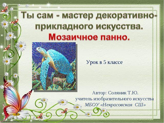 Урок в 5 классе Автор: Соляник Т.Ю. учитель изобразительного искусства МБОУ «...