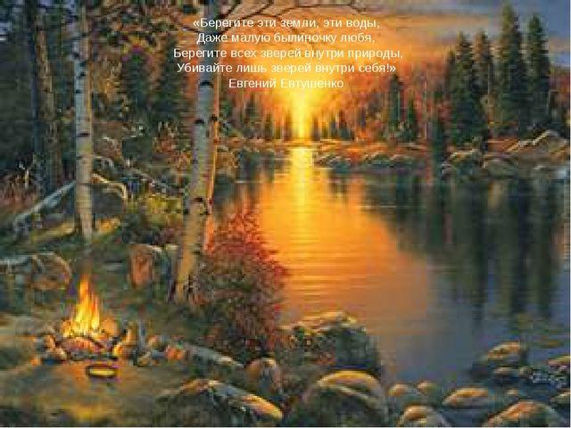 «Берегите эти земли, эти воды, Даже малую былиночку любя, Берегите всех звере...