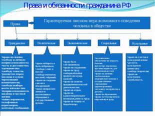 Права и обязанности гражданина РФ Права Гарантируемая законом мера возможного