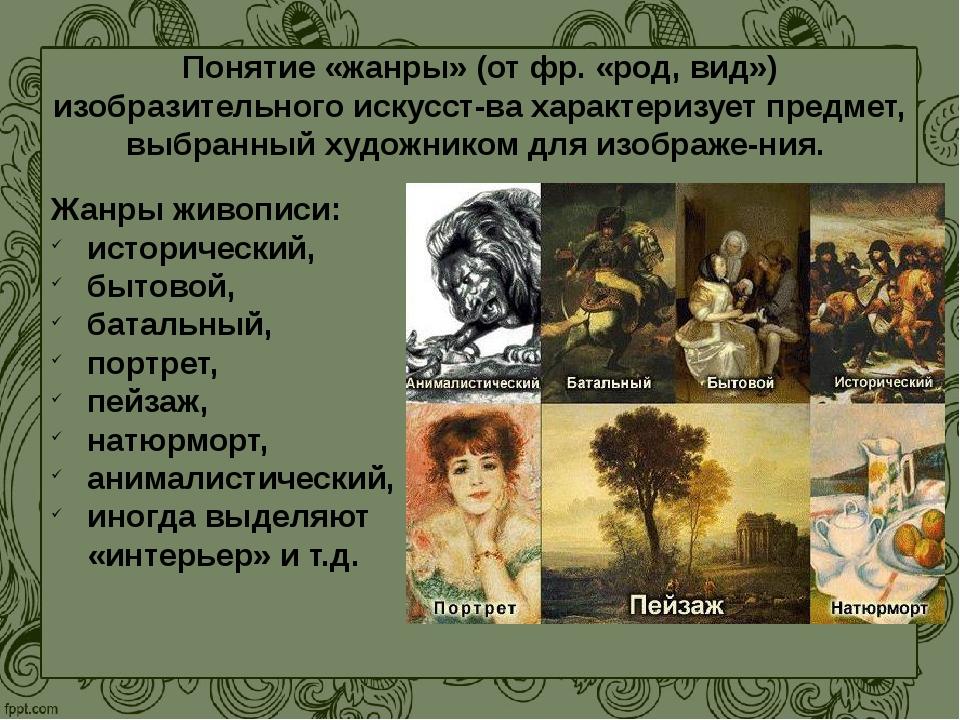Понятие «жанры» (от фр. «род, вид») изобразительного искусства характеризует...