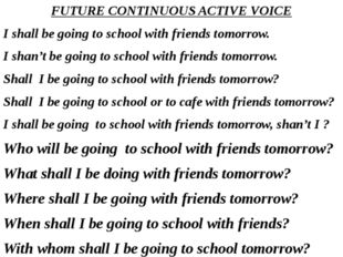 FUTURE CONTINUOUS ACTIVE VOICE I shall be going to school with friends tomorr