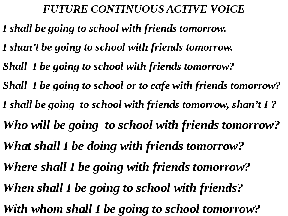 FUTURE CONTINUOUS ACTIVE VOICE I shall be going to school with friends tomorr...
