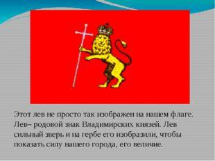 Этот лев не просто так изображен на нашем флаге. Лев– родовой знак Владимирс