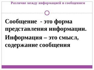 Различие между информацией и сообщением Сообщение - это форма представления и