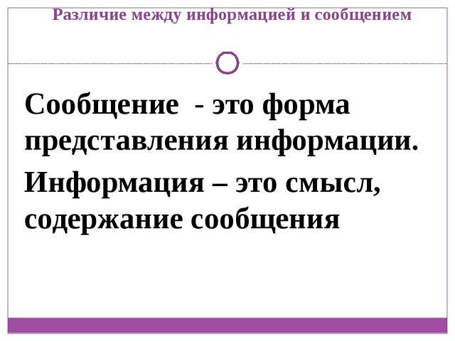 Различие между информацией и сообщением Сообщение - это форма представления и...