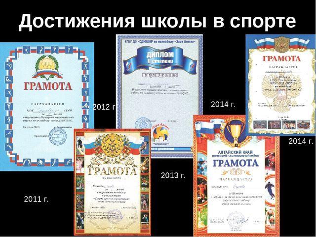 Достижения школы в спорте 2011 г. 2012 г. 2013 г. 2014 г. 2014 г.