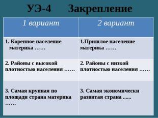 УЭ-4 Закрепление 1 вариант 2 вариант 1. Коренное население материка …… 1.Приш
