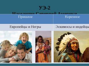 УЭ-2 Население Северной Америки Пришлое Коренное Европейцы и Негры Эскимосы и