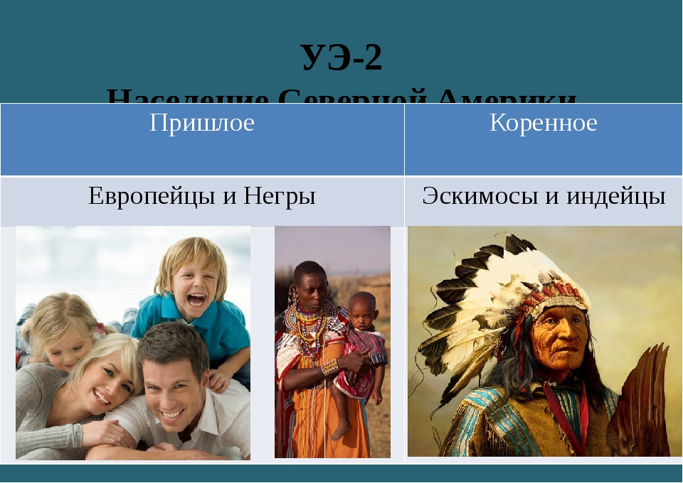 УЭ-2 Население Северной Америки Пришлое Коренное Европейцы и Негры Эскимосы и...