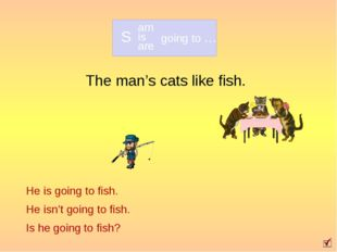 The man's cats like fish. He is going to fish. He isn't going to fish. Is he