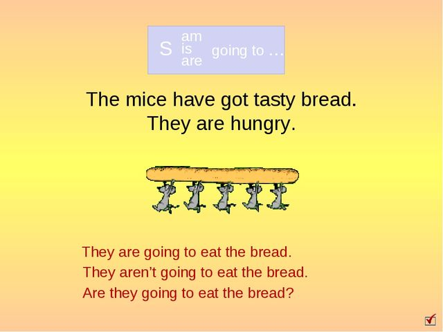 The mice have got tasty bread. They are hungry. They are going to eat the bre...