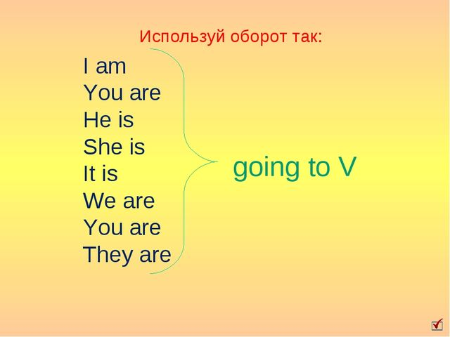 going to V I am You are He is She is It is We are You are They are Используй...