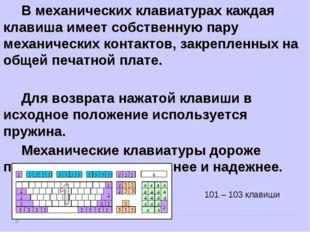 В механических клавиатурах каждая клавиша имеет собственную пару механических