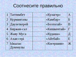 Соотнесите правильно 1 Таттимбет «Кулагер» А 2 Курмангазы «Камбар» Б 3 Даулет