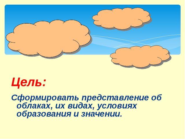 Сформировать представление об облаках, их видах, условиях образования и знач...