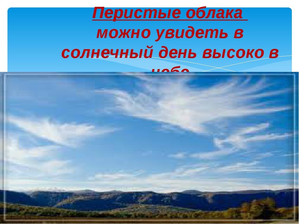 Перистые облака можно увидеть в солнечный день высоко в небе