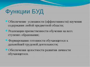 Функции БУД Обеспечение успешности (эффективности) изучения содержания любой