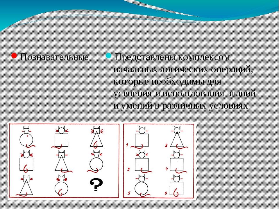 Познавательные Представлены комплексом начальных логических операций, которы...