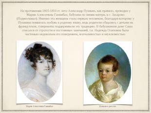 На протяжении 1805-1810 гг. лето Александр Пушкин, как правило, проводил у Ма