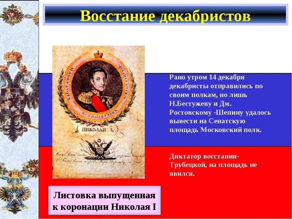 Восстание декабристов Листовка выпущенная к коронации Николая I Рано утром 14...