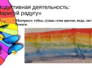 Продуктивная деятельность: «Нарисуй радугу» Материал: губка, гуашь семи цвето