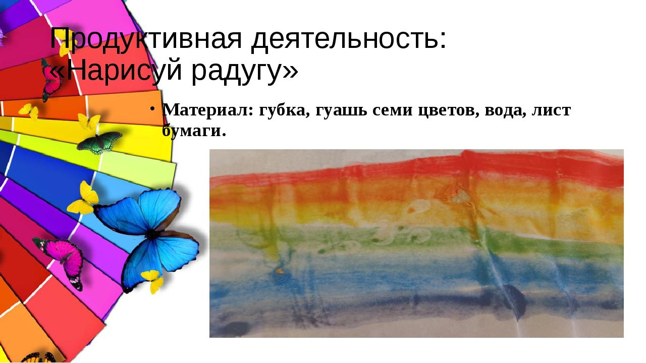 Продуктивная деятельность: «Нарисуй радугу» Материал: губка, гуашь семи цвето...