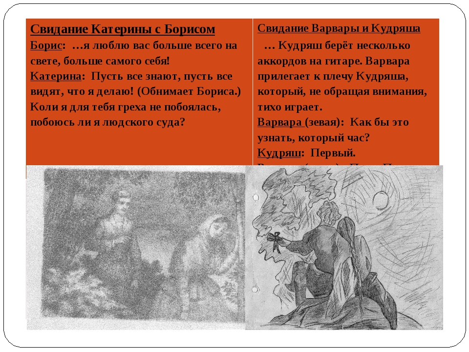 Свидание Катерины с Борисом Борис: …я люблю вас больше всего на свете, больше...