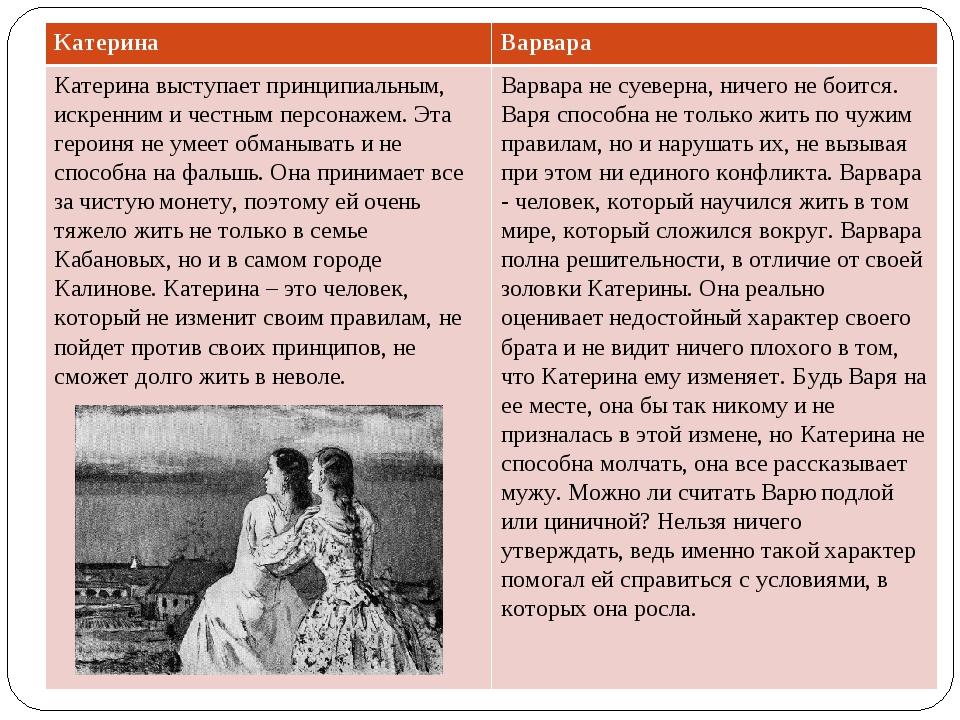 КатеринаВарвара Катерина выступает принципиальным, искренним и честным персо...