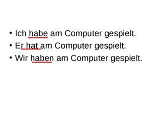 Ich habe am Computer gespielt. Er hat am Computer gespielt. Wir haben am Comp
