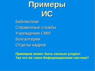 Примеры ИС Библиотеки Справочные службы Учреждения СМИ Бухгалтерии Отделы кад