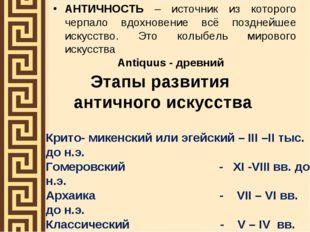 Этапы развития античного искусства АНТИЧНОСТЬ – источник из которого черпало