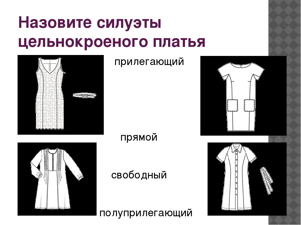 Назовите силуэты цельнокроеного платья прилегающий прямой свободный полуприле...