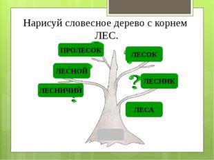 Нарисуй словесное дерево с корнем ЛЕС. ЛЕСНОЙ ЛЕСНИК ЛЕСОК ЛЕСНИЧИЙ ЛЕСА ПРОЛ