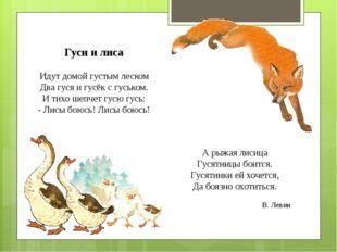 Гуси и лиса Идут домой густым леском Два гуся и гусёк с гуськом. И тихо шепче