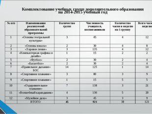 Комплектование учебных групп дополнительного образования на 2014-2015 учебный