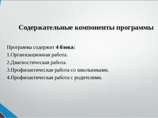 Содержательные компоненты программы Программа содержит 4 блока: 1.Организацио