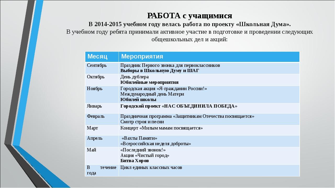 РАБОТА с учащимися В 2014-2015 учебном году велась работа по проекту «Школьн...