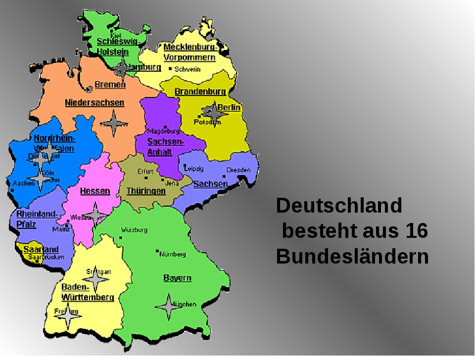 Deutschland besteht aus 16 Bundesländern